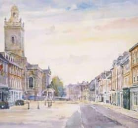 Pastel sketch of the market place, Blandford Forum