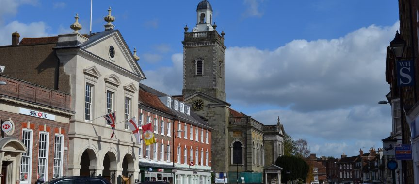 The Market Place from West Street showing the Corn Exchange and St Peter and St Paul Church