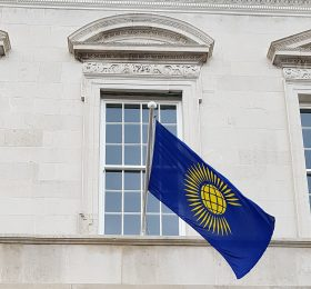 Commonwealth Flag flying from the Corn Exchange