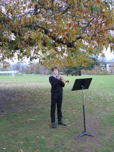 A student playing the trumpet.