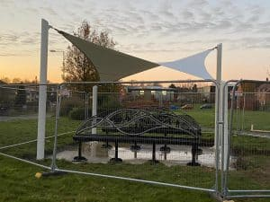 Art benches with canopy