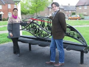 The Mayor and Cllr Osborne by the bench