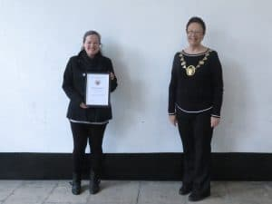 Becky Rodwell with her Mayor's commendation