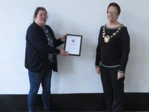 Tara Eren with her Mayor's commendation